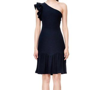 NWT Rebecca Taylor Ruffled One-Shoulder Knit Dress